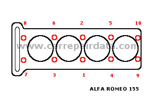 Alfa Romeo 155 4 pistons Cylinder head tightening sequence